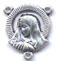 Rosary Centers : Silver Colored: Mary with Halo Size 5 SP
