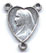 Rosary Centers : Silver Colored: Mary and Heart OX Size 3