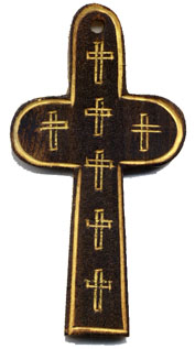 Rosary Crosses: Large Carved Wood Cross (Sz 7)