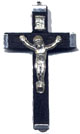 Rosary Crucifixes: Black wood and Nickel (Size 4)