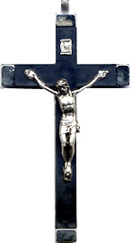 Rosary Crucifixes : Silver Colored: Black Habit Crucifix