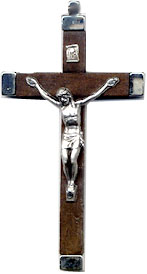 Rosary Crucifixes : Silver Colored: Brown Wood Habit Crucifix (6)