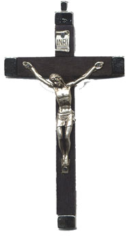 Rosary Crucifixes: Black wood and Nickel (Size 7)