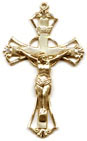 Rosary Crucifixes : Solid Gold: Cutout (Size 6) 14kt*