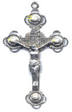 Rosary Crucifixes : Sterling Silver: Roses (Size 7) SS