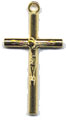Rosary Crucifixes : Gold Colored: Small Log (Size 3) GP