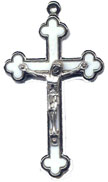Rosary Crucifixes : Silver Colored: White Inlay (Size 6) NS and PL