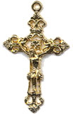 Rosary Crucifixes : Gold Colored: Fancy (Size 6) GP