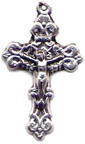 Rosary Crucifixes : Silver Colored: Solid Filigree Size 5
