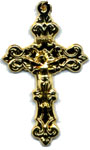 Rosary Crucifixes : Gold Colored: Solid Filagree GP Size 5