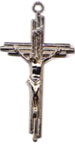 Rosary Crucifixes : Silver Colored: Triple Crucifix Size 5