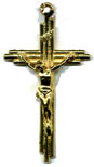 Rosary Crucifixes : Gold Colored: Triple Crucifix GP Size 5