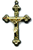 Rosary Crucifixes : Gold Colored: French Crucifix GP Size 5