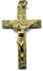 Rosary Crucifixes : Gold Colored: Grainy Crucifix GP Size 5