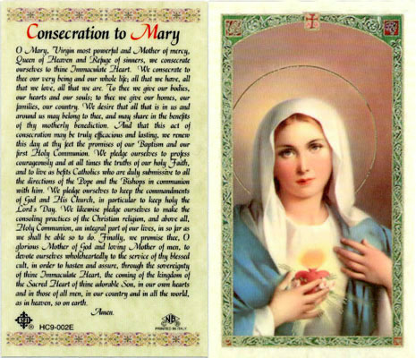 Holy Cards: Consecration to Mary