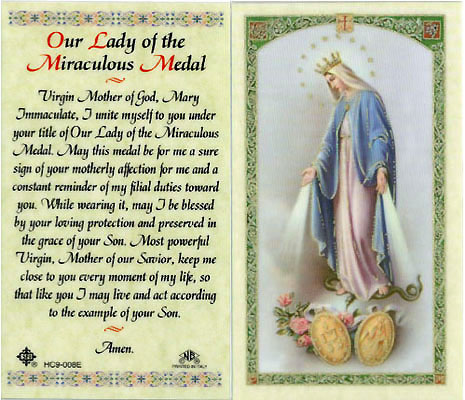 Holy Cards: Our Lady of the Mirac. Medal Holy Card