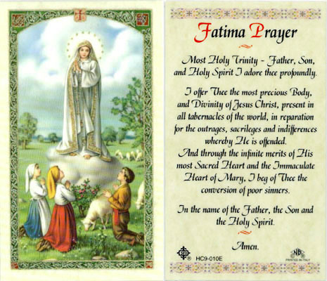 Holy Cards: Fatima Prayer