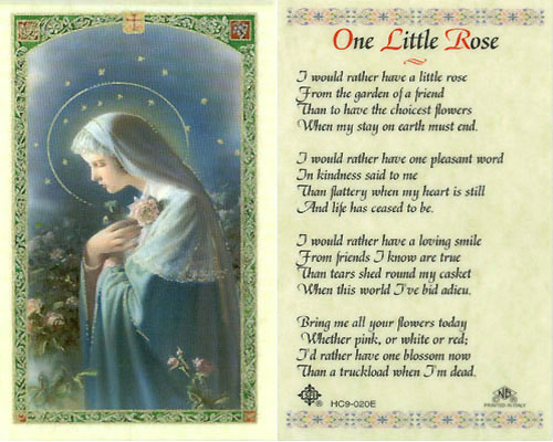 Holy Cards: One Little Rose Prayer
