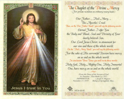 Holy Cards: Chaplet of Divine Mercy