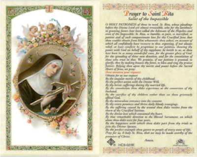 Holy Cards: Prayer to St. Rita Holy Card