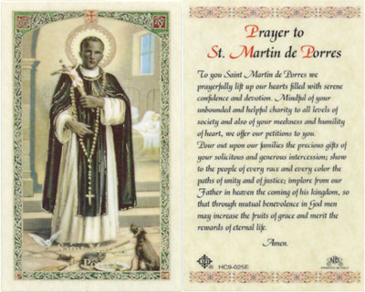 Items related to St. Martin of Tours: Prayer to St. Martin de Porres