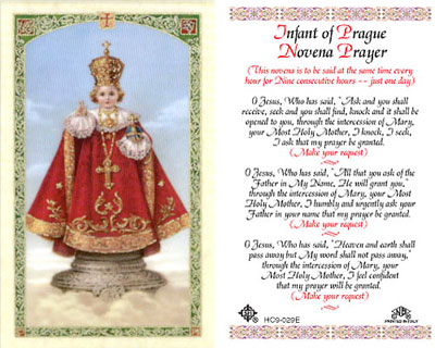 Holy Cards: Infant of Prague Novena Prayer