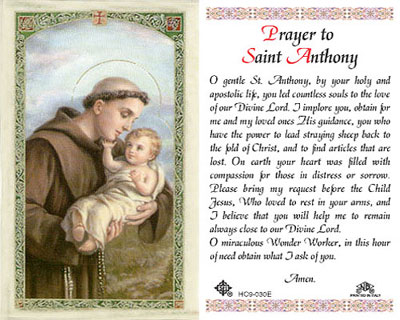 Holy Cards: Prayer to St. Anthony