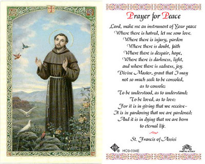 Holy Cards: Prayer for Peace (St. Francis)