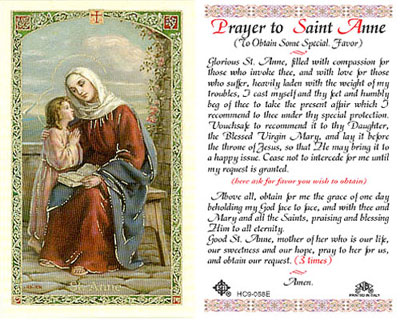 Holy Cards: Prayer to St. Anne Holy Card