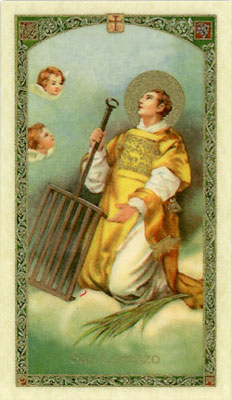 Holy Cards: Prayer to St. Lawrence