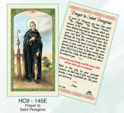 Holy Cards: Prayer to St. Peregrine Holy Card