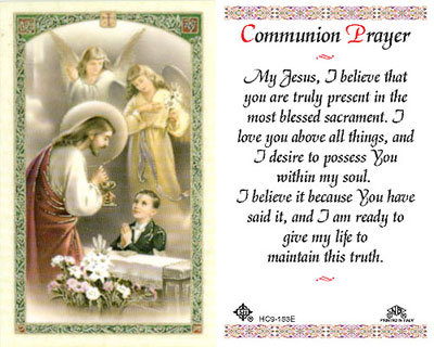 Holy Cards: Communion Prayer Holy Card (Boys)