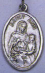 Religious Saint Holy Medal : Silver Colored: St. Anne OX Saint Medal