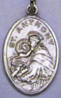 Religious Saint Holy Medal : Silver Colored: St. Anthony OX Saint Medal