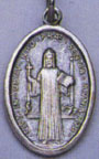 Religious Saint Holy Medal : Silver Colored: St. Benedict OX Saint Medal