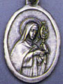 Religious Saint Holy Medal : Silver Colored: St. Clare OX Saint Medal