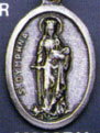 Religious Saint Holy Medal : Silver Colored: St. Dymphna OX Saint Medal