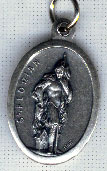 Religious Saint Holy Medal : Silver Colored: St. Florian OX Saint Medal