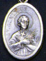 Religious Saint Holy Medal : Silver Colored: St. Genesius OX Saint Medal