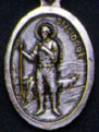 Religious Saint Holy Medal : Silver Colored: St. Isadore the Farmer OX Mdl
