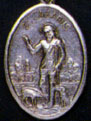 Religious Saint Holy Medal : Silver Colored: St. Lazarus OX Saint Medal