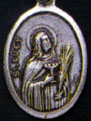 Religious Saint Holy Medal : Silver Colored: St. Lucy OX Saint Medal