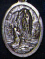 Religious Saint Holy Medal : Silver Colored: Our Lady of Lourdes OX Medal