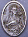 Religious Saint Holy Medal : Silver Colored: St. Philomena OX Saint Medal