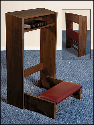 Folding Prayer Kneeler - Walnut