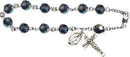 Rosary Bracelets: Rosary Bracelet - Blue Crystal