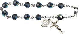 Pre-made Rosary Bracelets: Rosary Bracelet - Blue Crystal