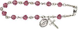 Pre-made Rosary Bracelets: Rosary Bracelet - Rose Crystal