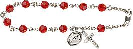 Pre-made Rosary Bracelets: Rosary Bracelet - Ruby Crystal