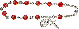 Rosary Bracelet - Ruby Crystal